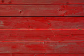 Close up on old painted wood planks board. Color management with Photoshop.