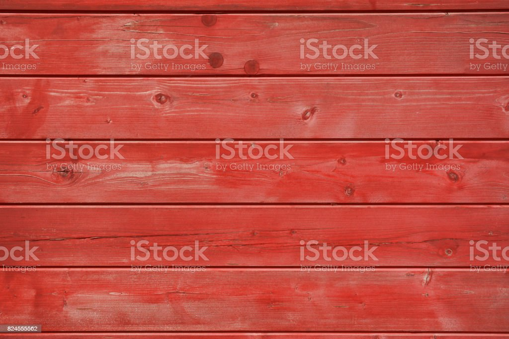 Red painted wooden board texture and background stock photo