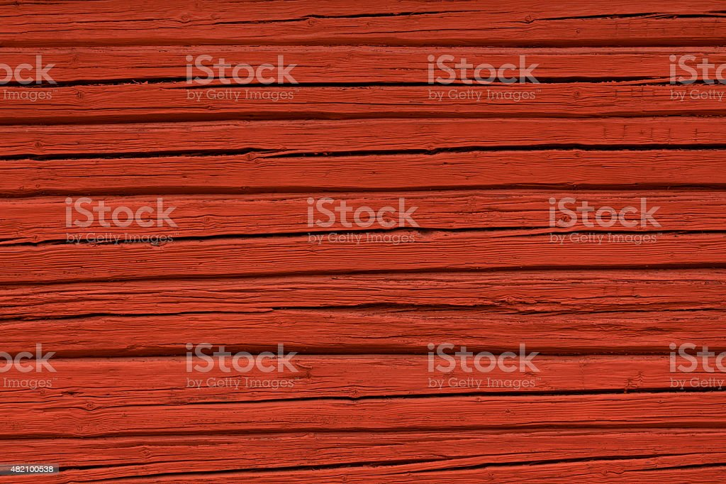 Red painted wooden wall texture stock photo