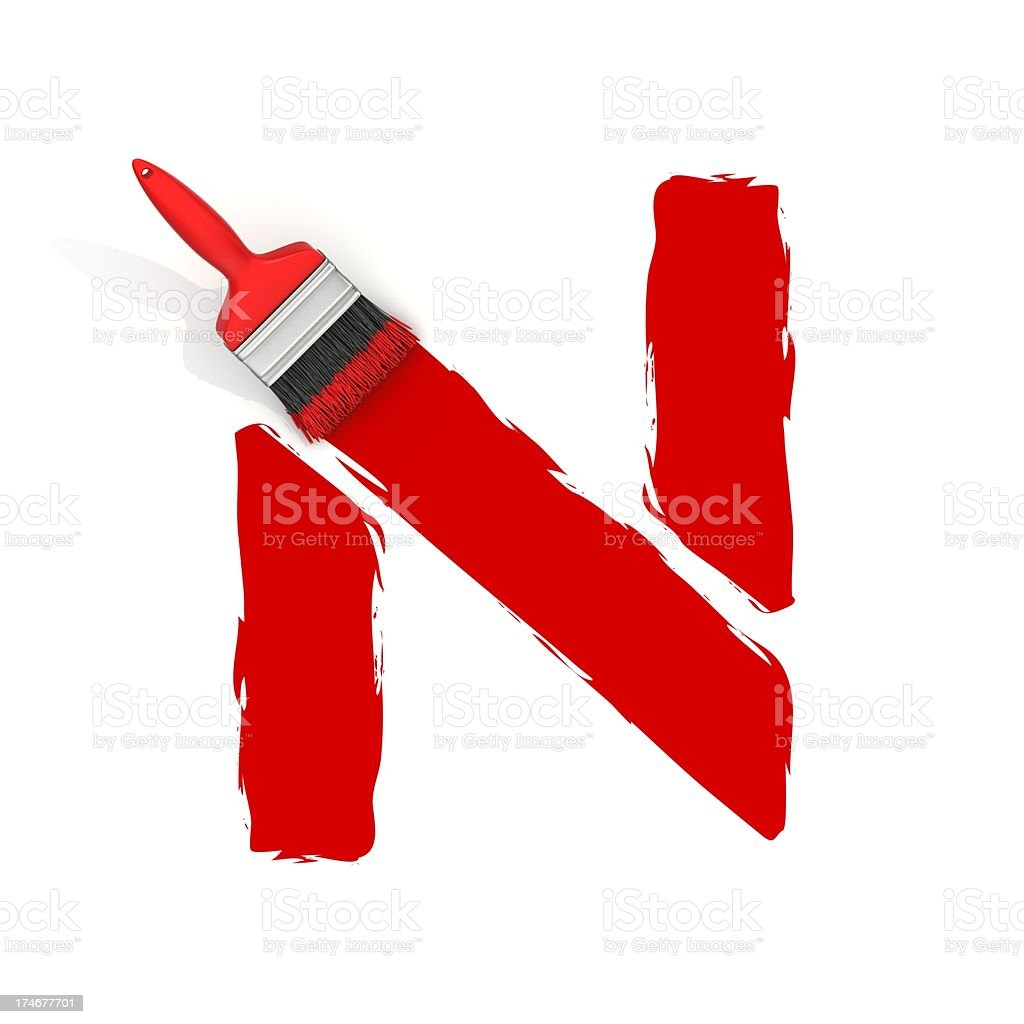 red painting letter N royalty-free stock photo