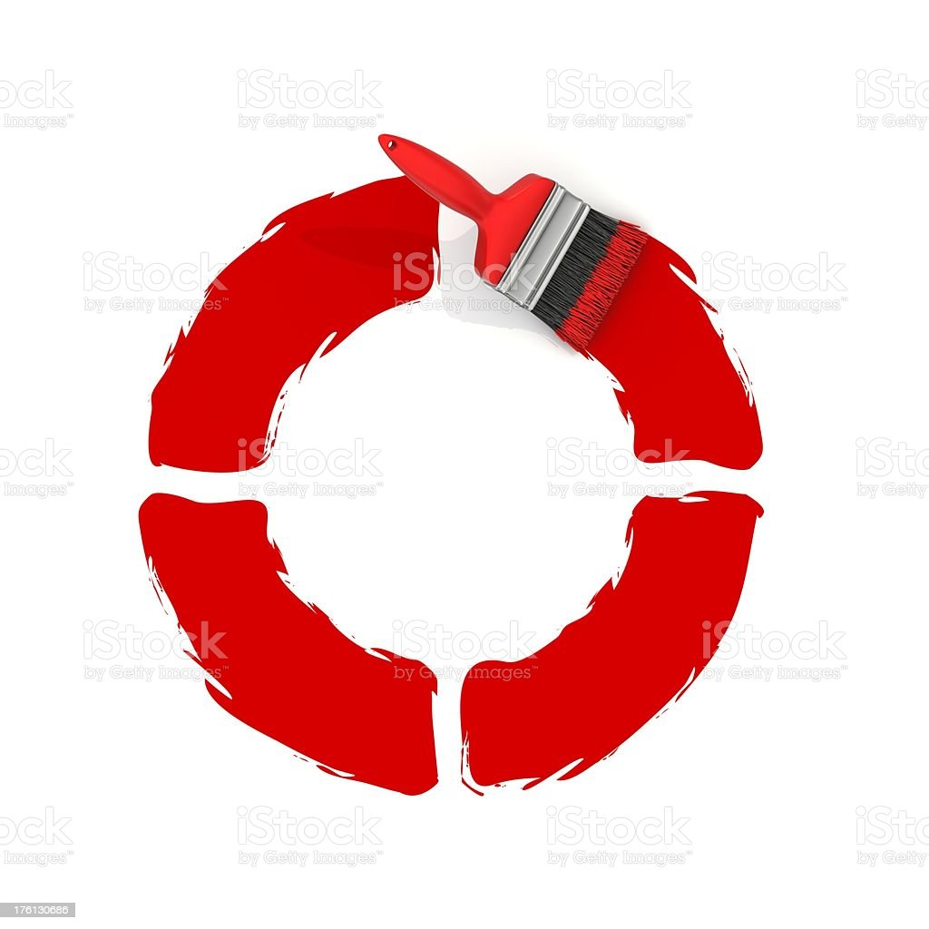 red painting letter O royalty-free stock photo