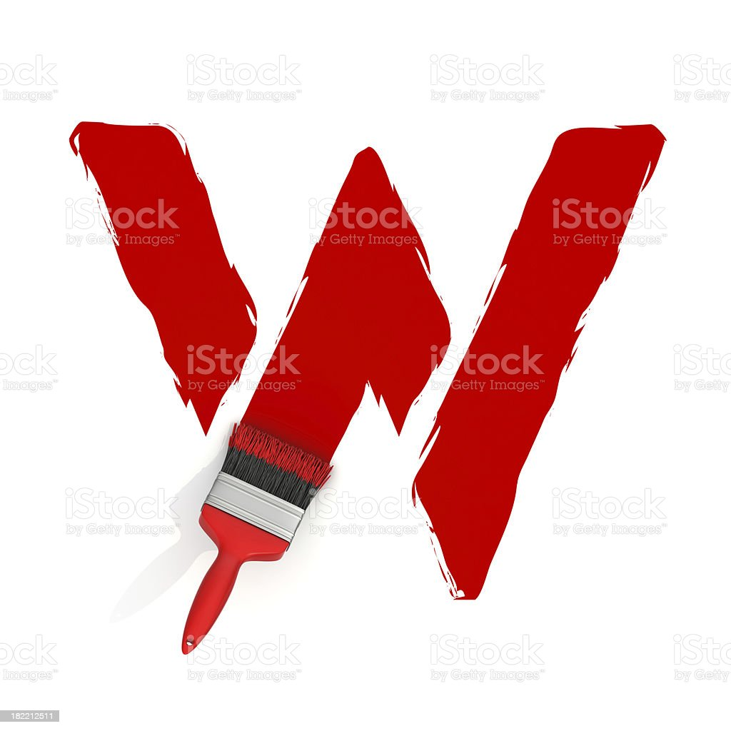 red painting letter W royalty-free stock photo