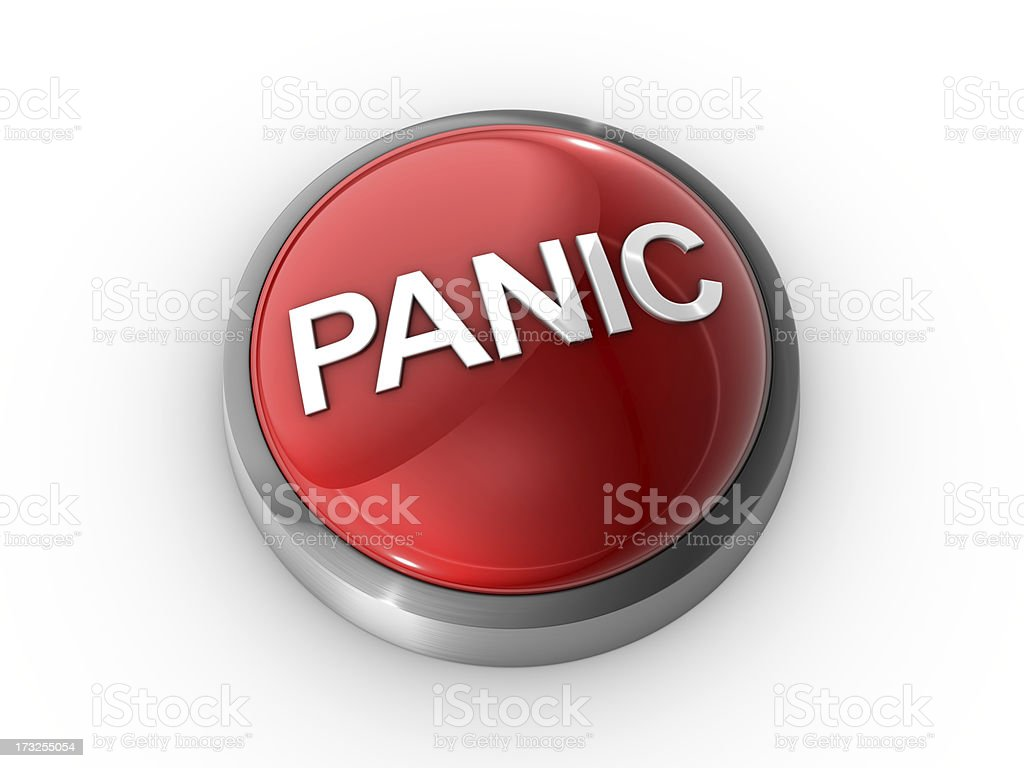 Red panic button on white background stock photo