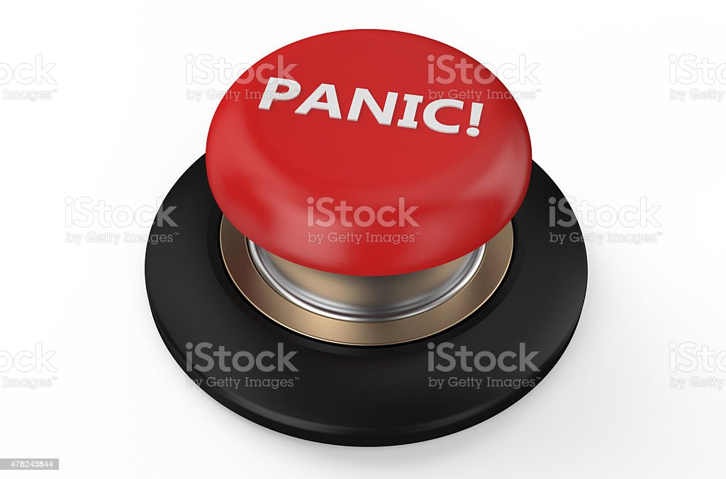 Red panic button stock photo