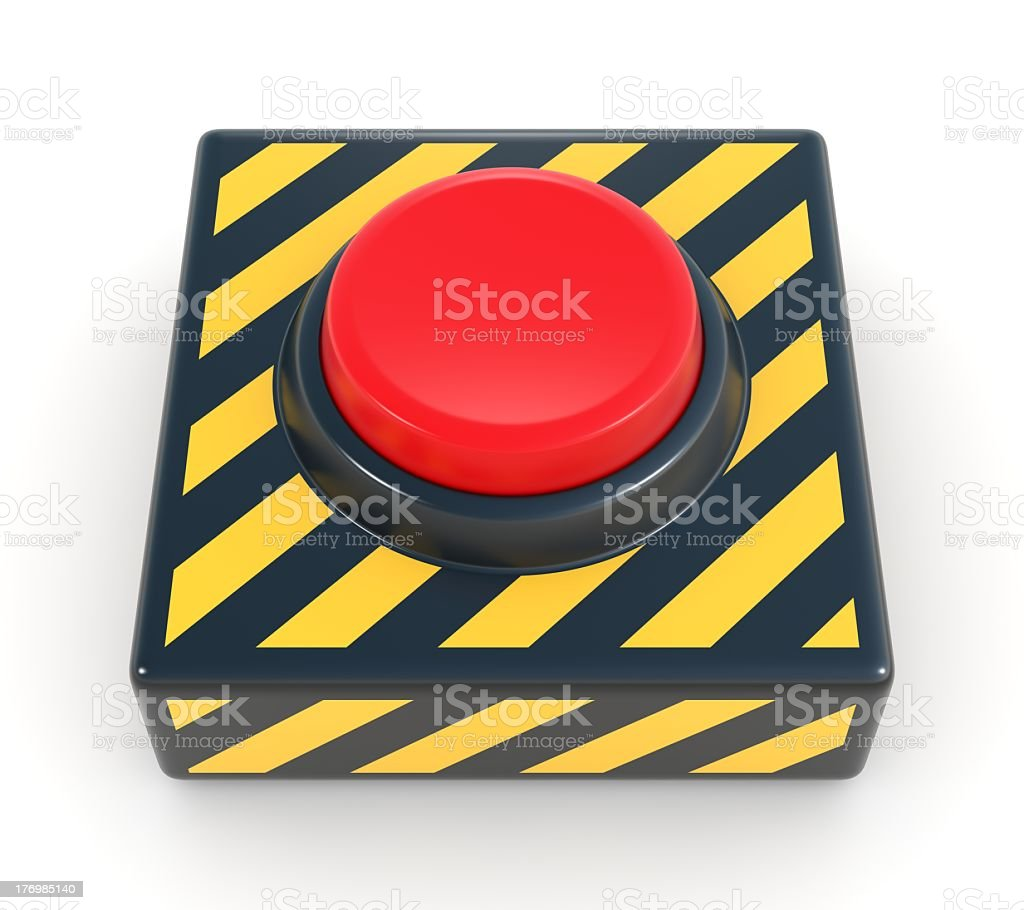 Red panic industrial button in yellow and black box stock photo