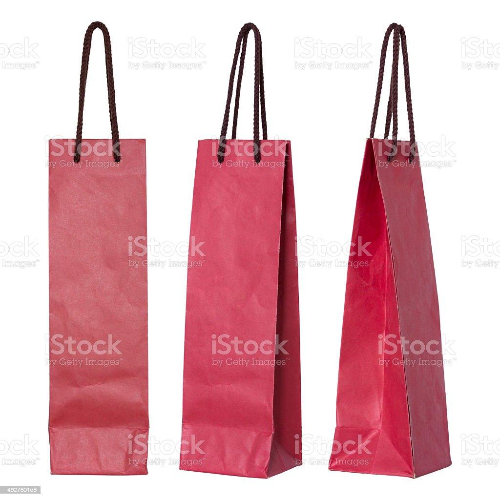 red paper bag for wine bottles stok fotoğrafı