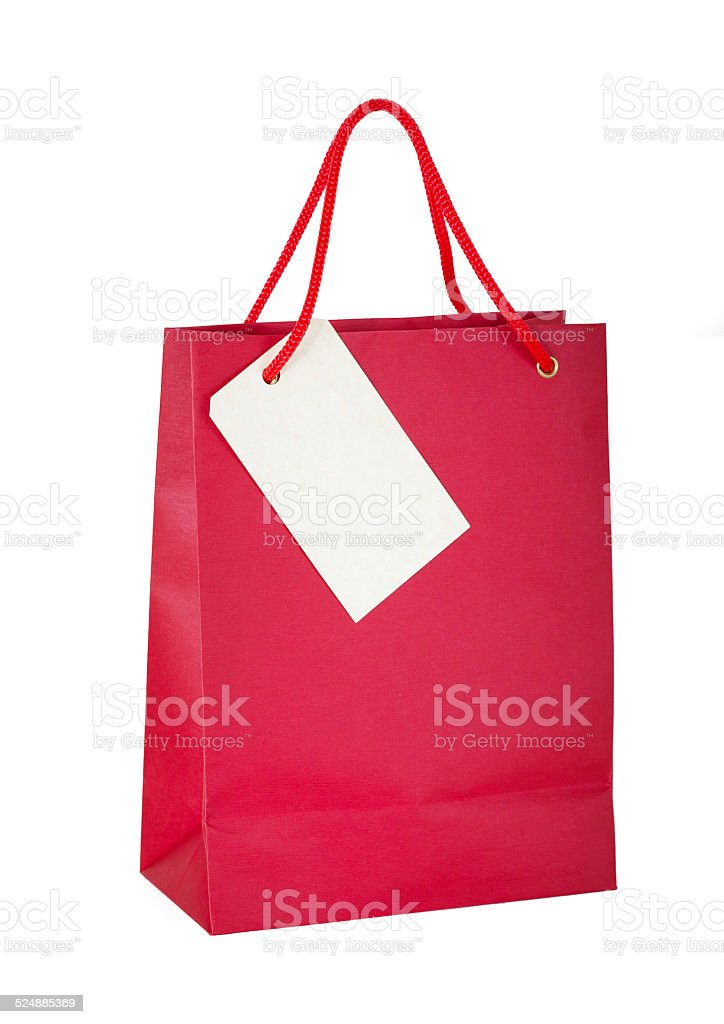 Red paper bag with tag stock photo