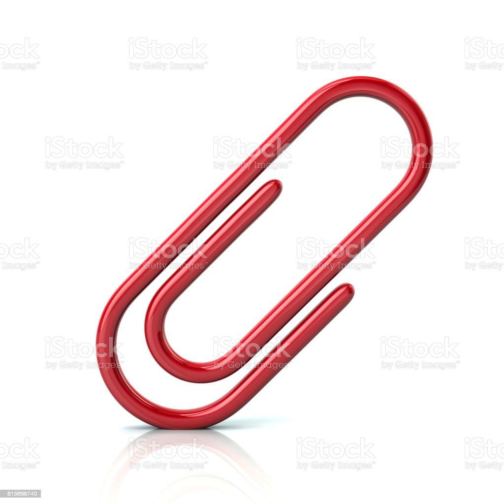Ícone de clipe de papel vermelho - foto de acervo