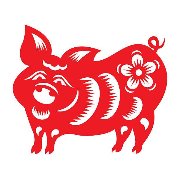 rote papier schnitt ein schwein zodiac symbole - chinesischer kalender stock-fotos und bilder