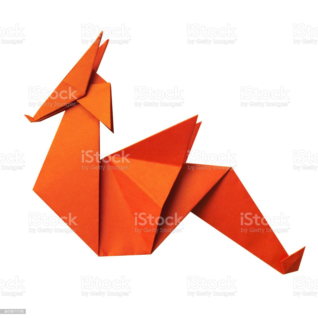 Red Paper Folded Geometrical Polygonal Origami Dragon On White