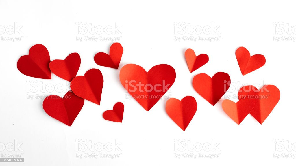 Red paper hearts isolated on white stock photo