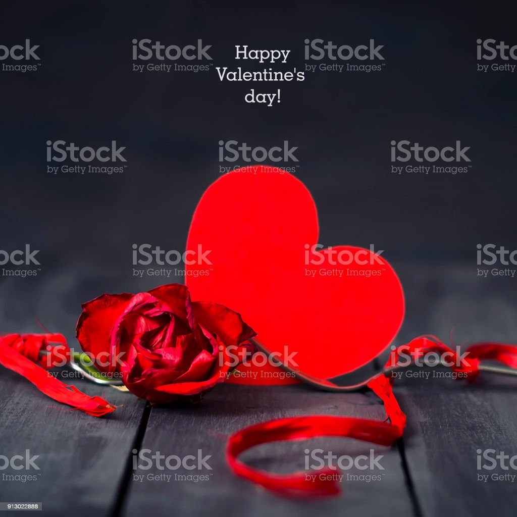 Red Paper Hearts Rose And Fork With Ribbon Dark Wooden