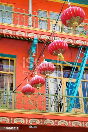 Some beautiful red paper lanterns hanging from a wire in San Francisco's Chinatown, USA