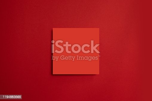 1172913655istockphoto Red paper poster on a red background. All in one minimal style template. 1194883565