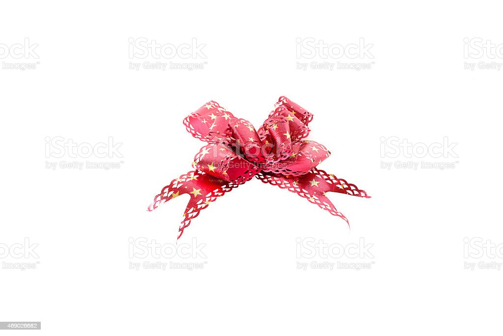 red paper ribbon on white background stock photo
