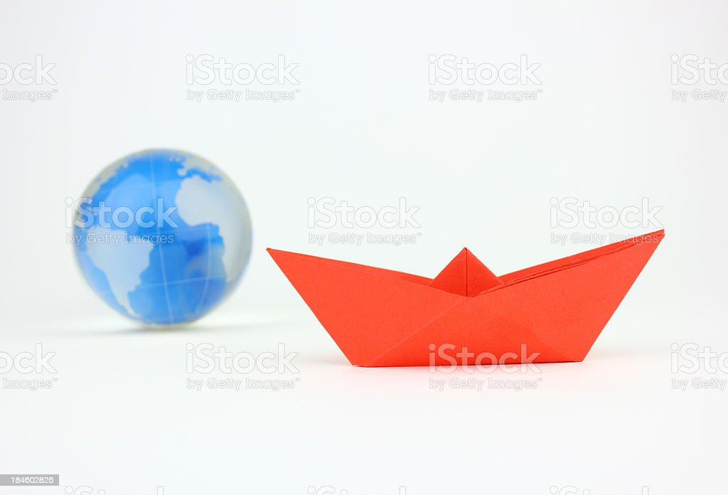 Red paper Ship stock photo