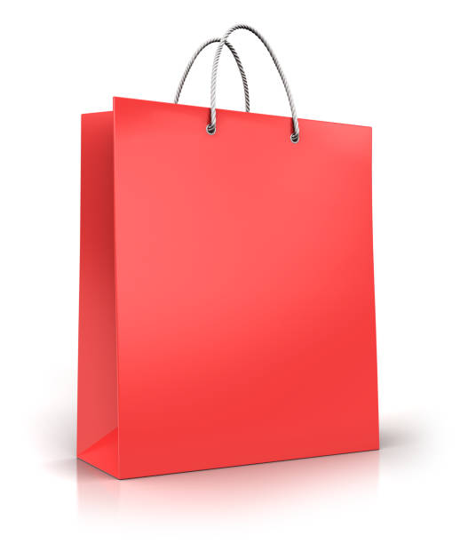 Red paper shopping bag stock photo