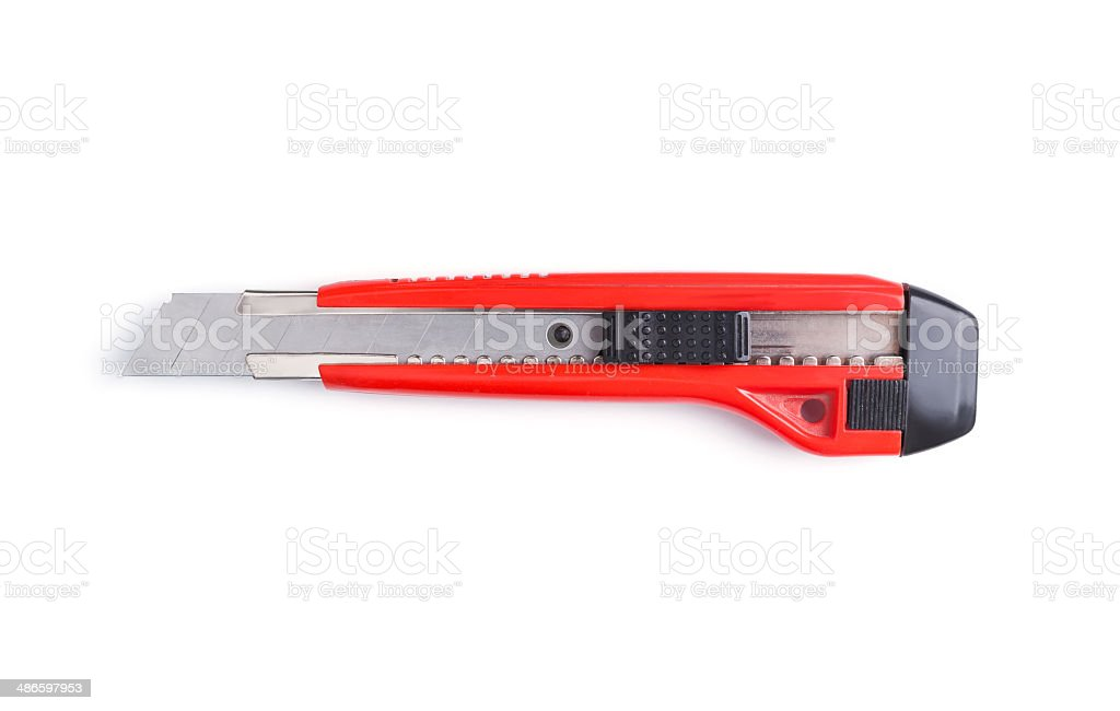 Red papper knife isolated on white background. stock photo