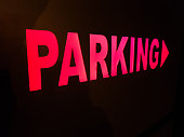 Red Parking sign