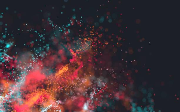 explosión de partículas rojas - abstract background fotografías e imágenes de stock