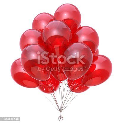 istock Red party balloon birthday decoration glossy balloons bunch 949391546
