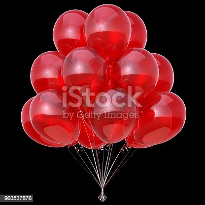 815229514 istock photo Red party balloons bunch isolated on black background 963537876