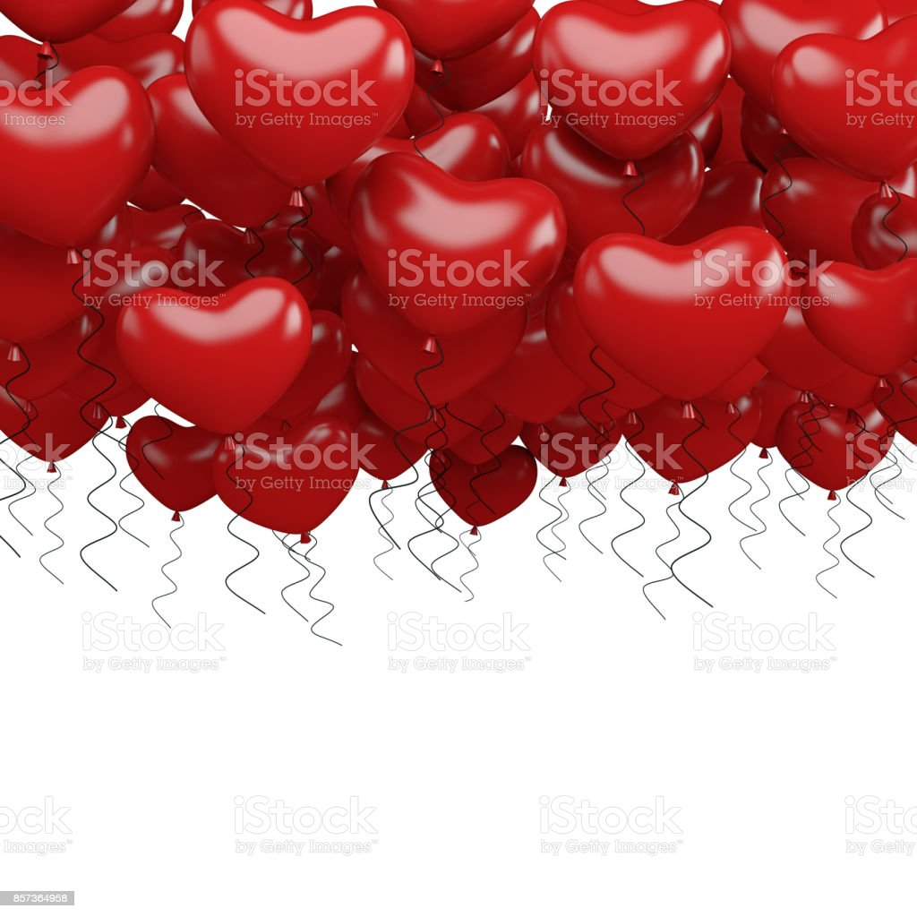 Red party balloons in heart shape isolated on white background. 3d render stock photo