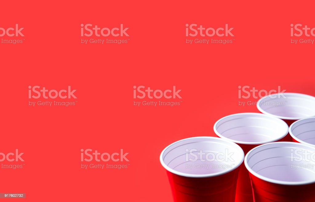 Red party cup and beer pong tournament background template. stock photo