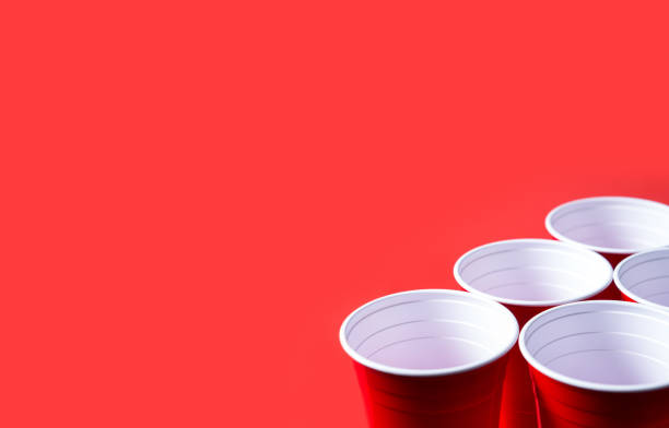 red party cup and beer pong tournament background template. - beirut foto e immagini stock