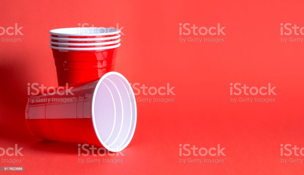 Red party cup background template. stock photo