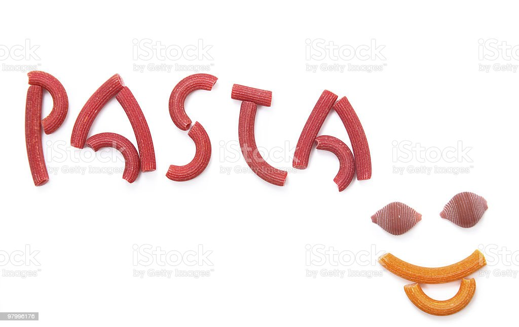 red pasta writing royalty-free stock photo