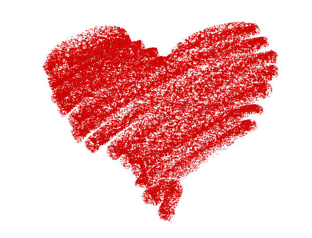 red pastel crayon heart - 剪貼畫 個照片及圖片檔