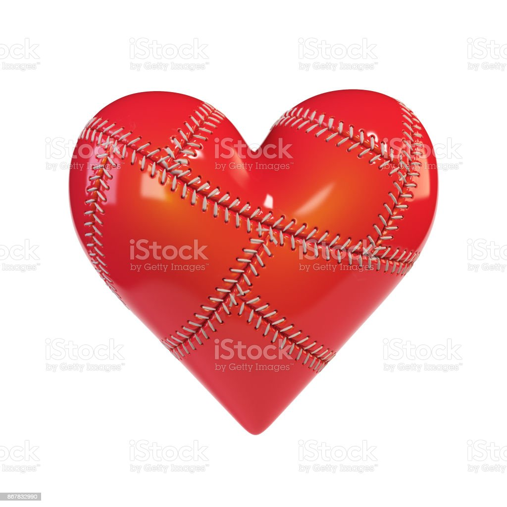 Red Patched hearth 3d rendering stock photo