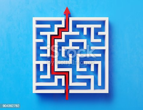 istock Red Path Across A White Maze On Blue Background 904362782