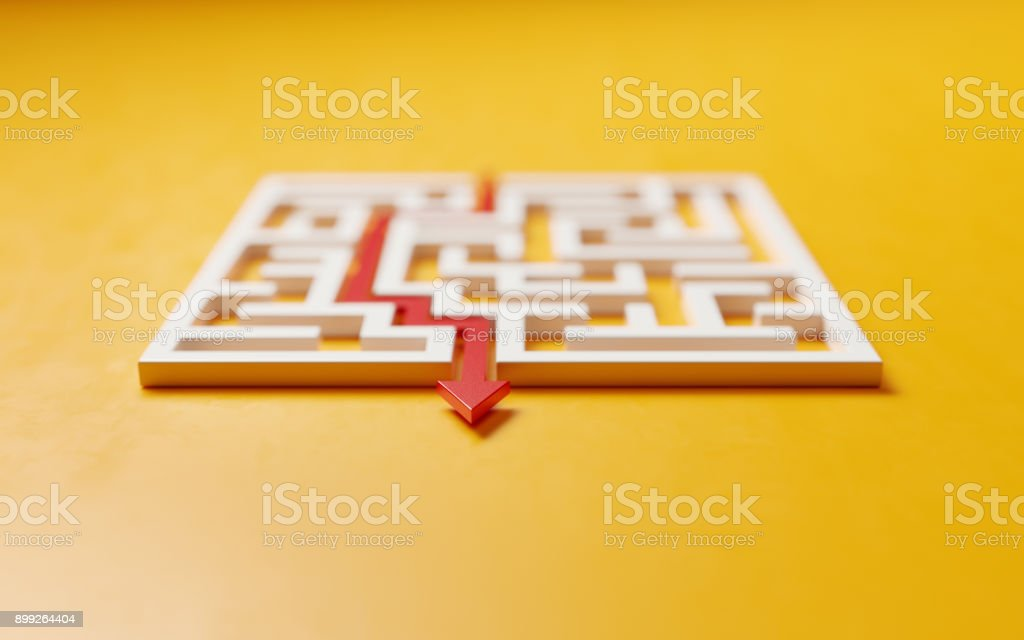 Red Path Across A White Maze On Yellow Background - Solution Concept stock photo