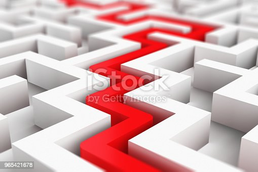 istock Red path across white endless labyrinth 965421678