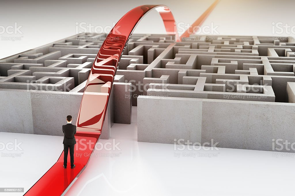 Red path and businessman stock photo