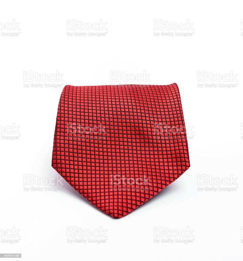 Red pattern necktie on white background stock photo