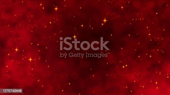 Red pattern with golden confetti, stars and red hearts. For St. Valentines Day, Mother's Day, anniversary, wedding invitation e-card. 3D rendering 3D illustration