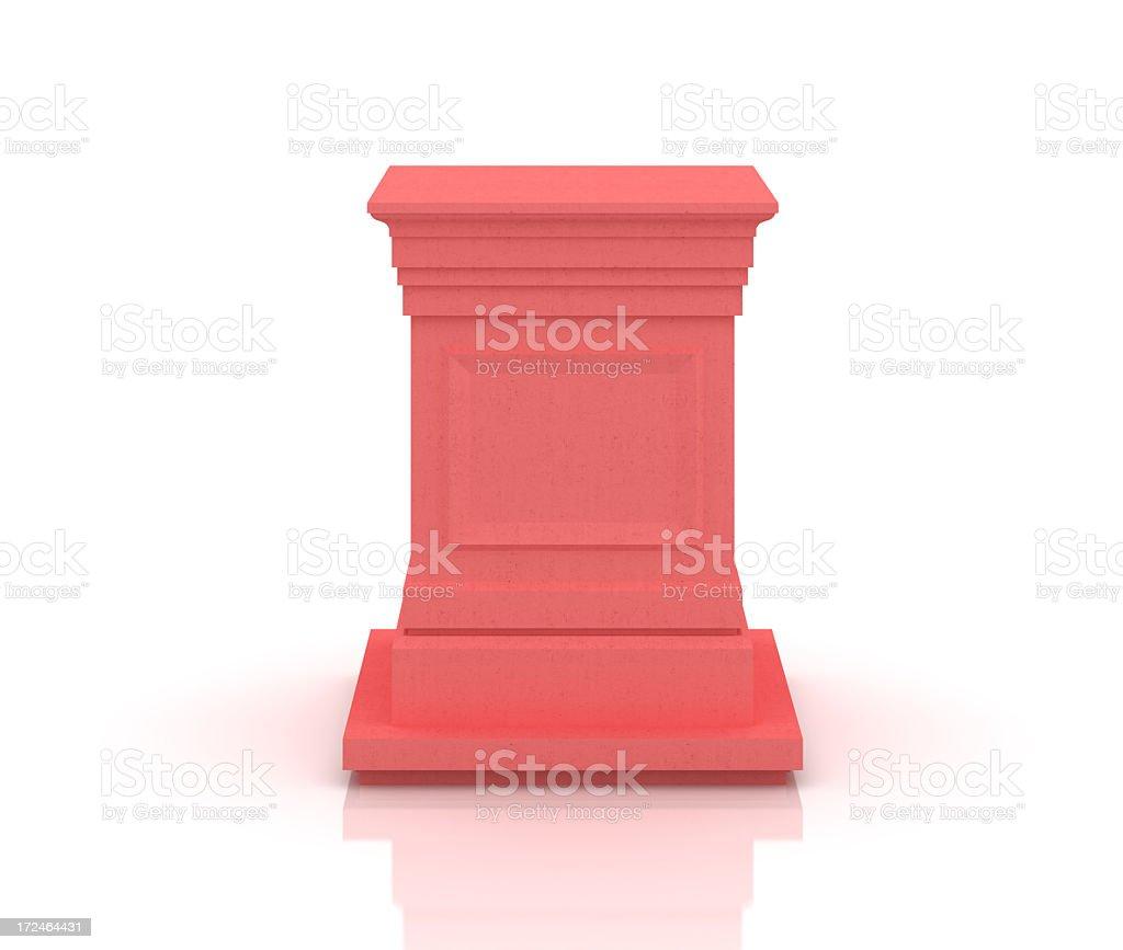 Red pedestal on white royalty-free stock photo
