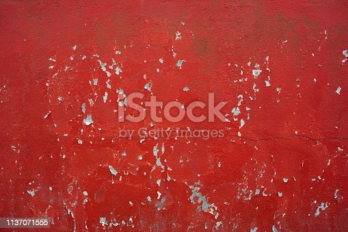 red peeling paint concrete wall background