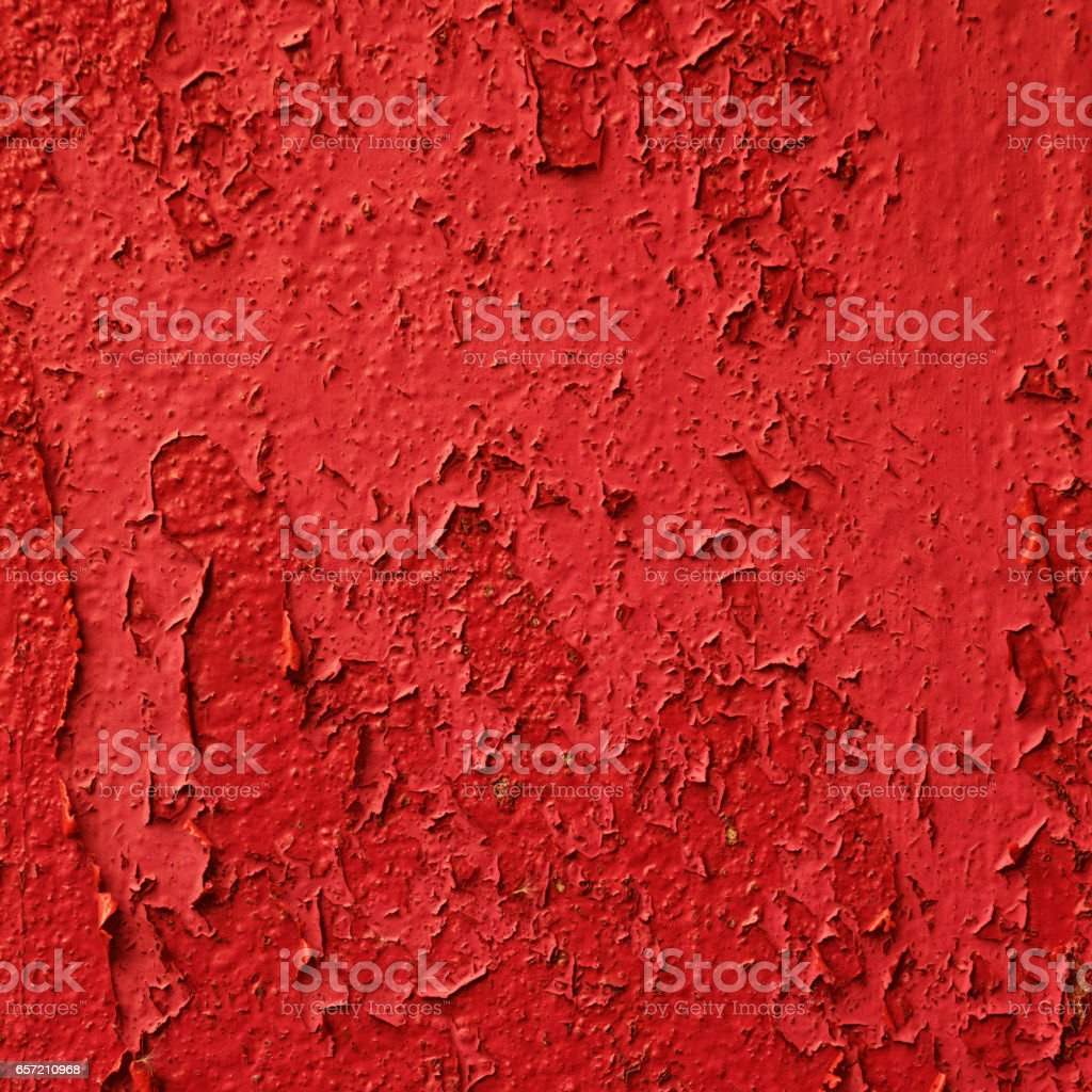 Red Peeling Paint on Metal Texture Background stock photo