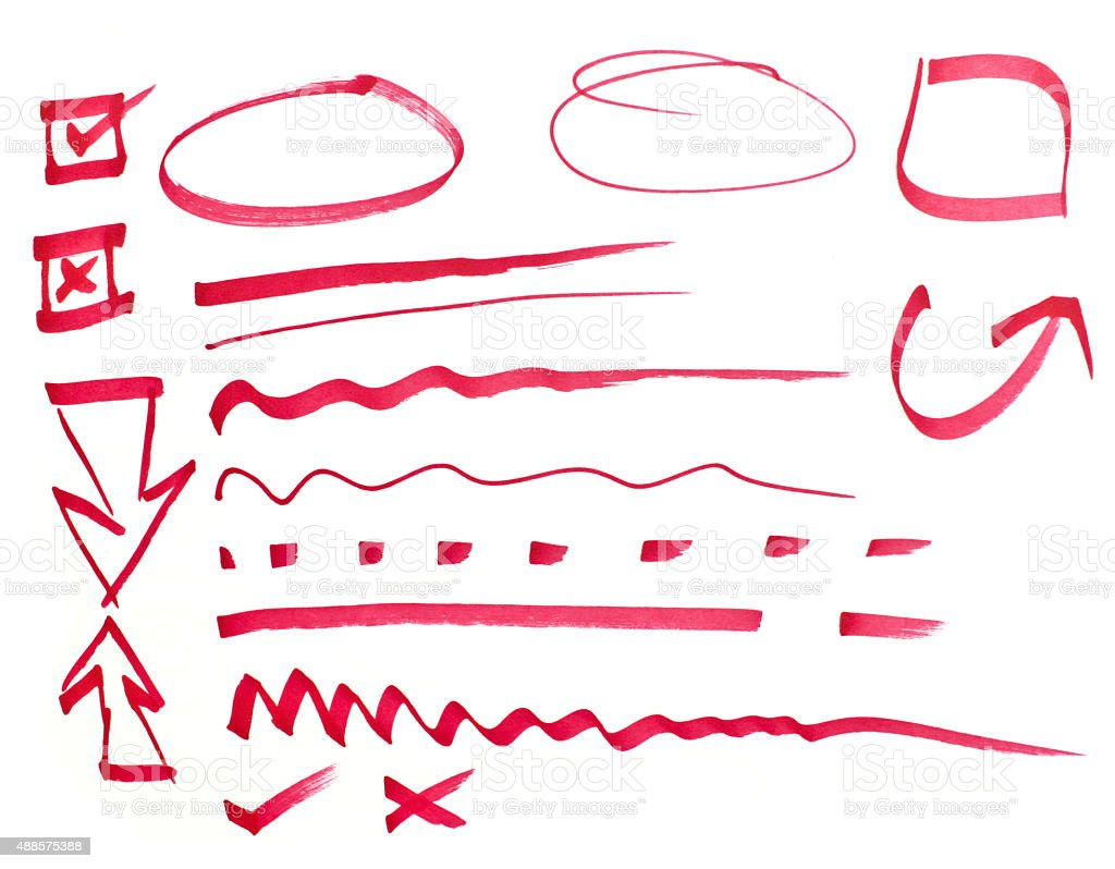 Red pen drawn marks stock photo