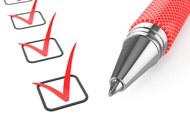 Red pen on checklist Red pen on checklist isolated on white background 3d yes single word stock pictures, royalty-free photos & images