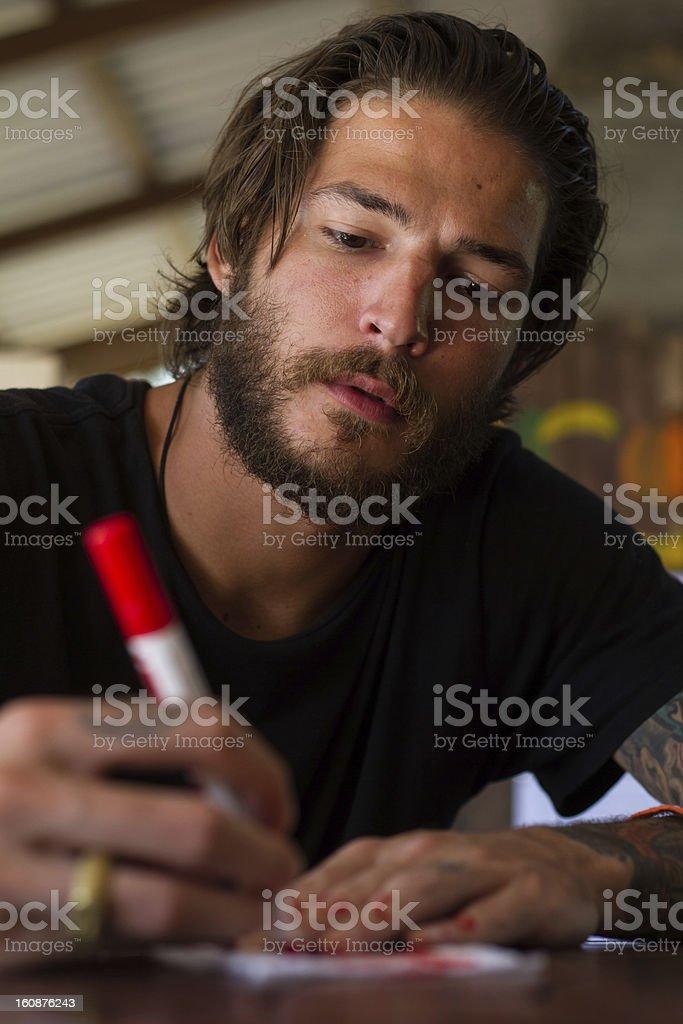 red pen stock photo
