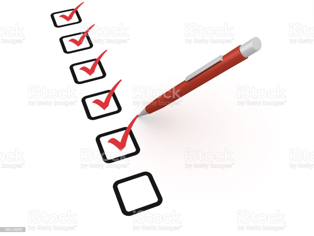 A red pen ticking off check boxes royalty-free stock photo