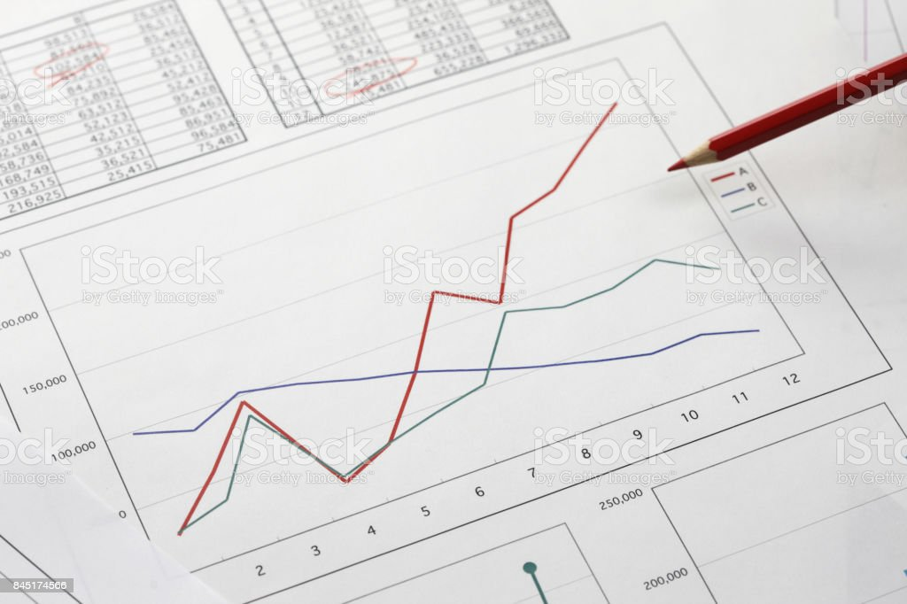 Red pencil and graph stock photo