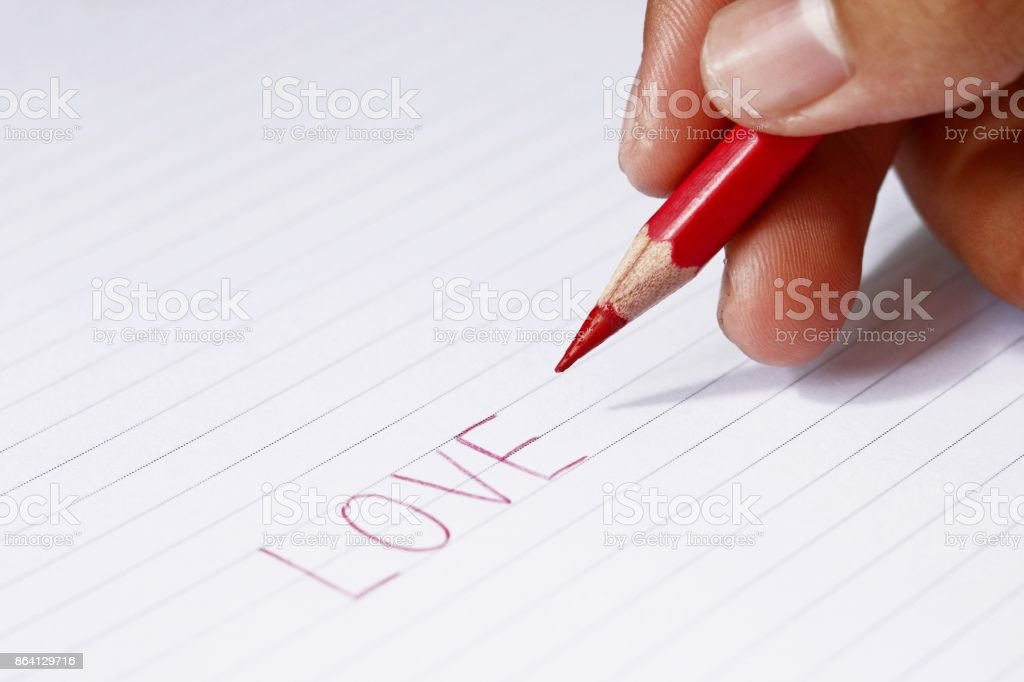 red pencil in blur man's hands royalty-free stock photo