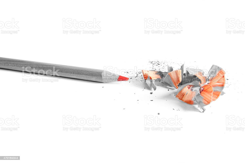 red pencil in white background stock photo