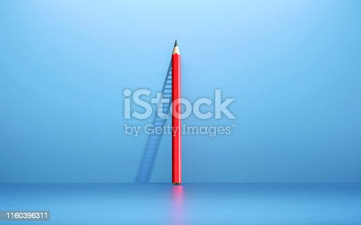 Red pencil leaning on blue wall casts the shadows of a ladder. Horizontal composition with copy space. Importance of Education and Ladder of Success concept.
